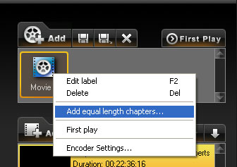 add equal length chapters to dvd