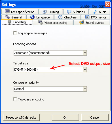 select dvd target size